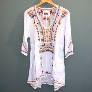 Johnny Was Biya Embroidered V-Neck Boho Tunic Top